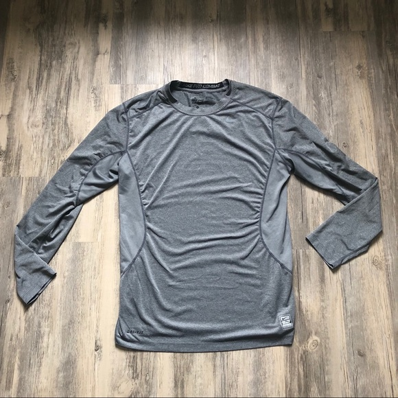 best cheap aa4dd 614ef Nike Pro Combat Gray Dri-Fit Fitted Workout Shirt.  M 5ada61e06bf5a6aa6a8cb2b8